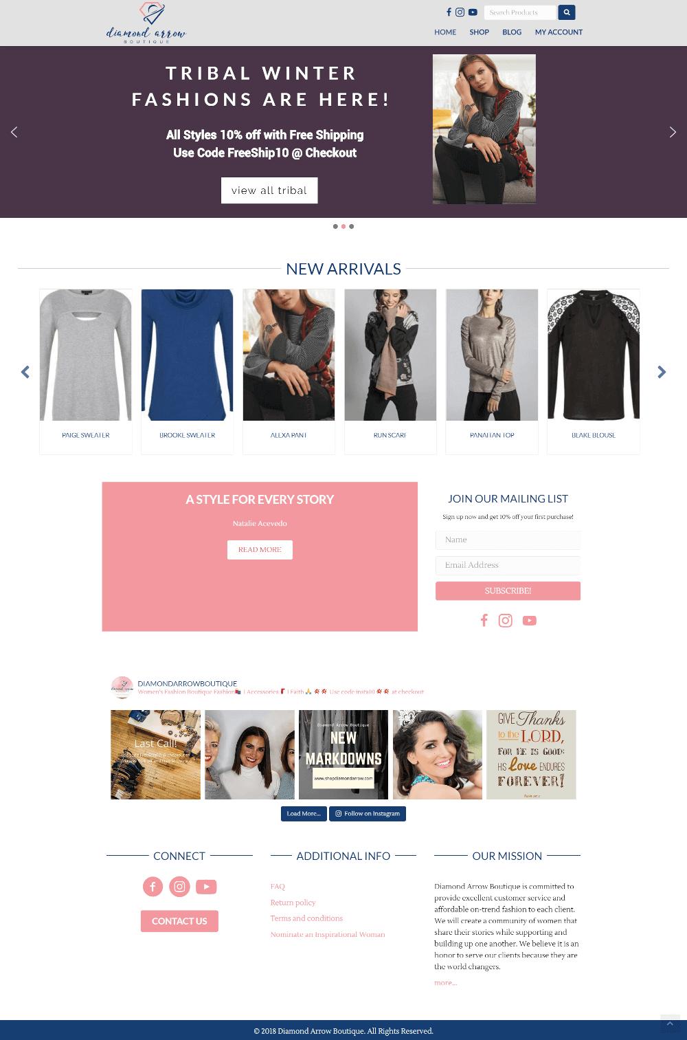 Screenshot of Diamond Arrow Boutique's homepage