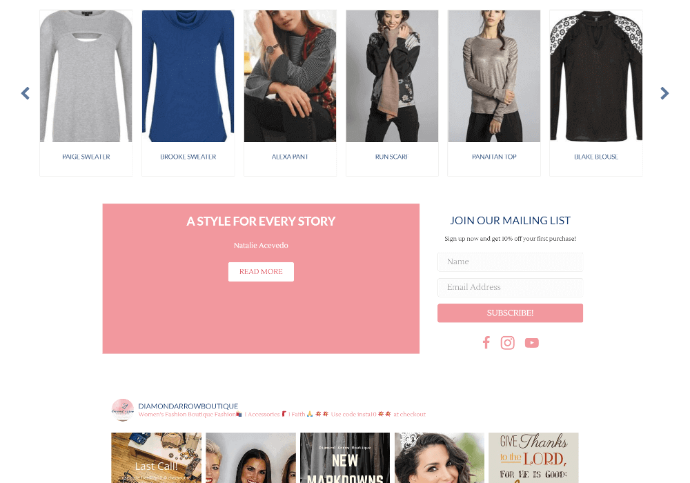 Screenshot of Diamond Arrow Boutique's homepage